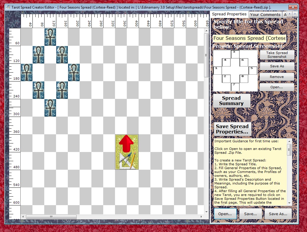 Edinamarry Free Tarot Software Tarot Spread Designer