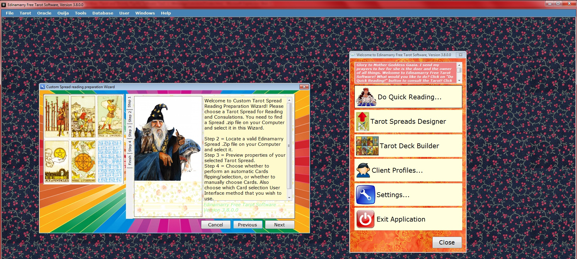 Edinamarry Free Tarot Software Screenshot
